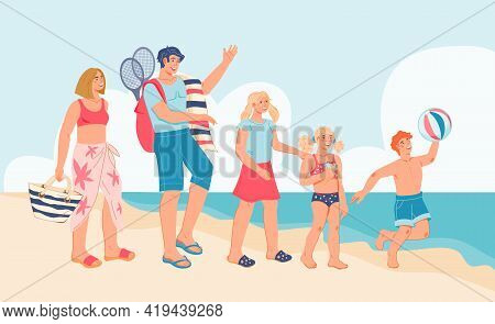 Seacoast With Happy Family On Summer Vacation, Flat Vector Illustration. Parents With Children On Se