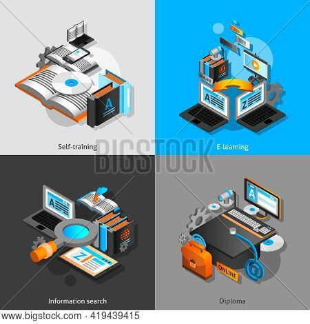 E-learning Design Concept Set With Self Training And Graduation Isometric Icons Isolated Vector Illu
