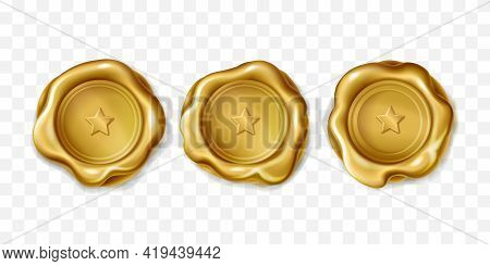 Realistic Vector Set Of Golden Wax Seal Approval Sealing. Gold Elite Stamp With Star For Letter Or D