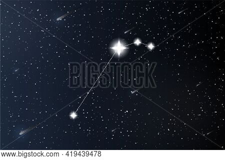 Aries. Zodiac Constellation On Outer Space Background. Mystery And Esoteric. Horoscope Vector Illust