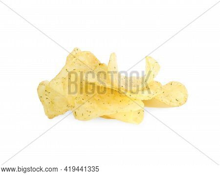 Tasty Crispy Potato Chips Isolated On White