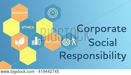 Corporate Social Responsibility Infographic On Blue Background, Illustration