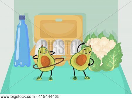 Avocado Cartoon Characters Working Out In Fridge Illustration. Green Berry With Large Seed Exercisin