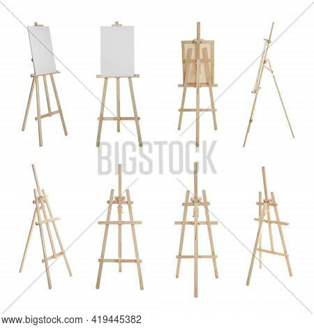 Set With Wooden Easels On White Background