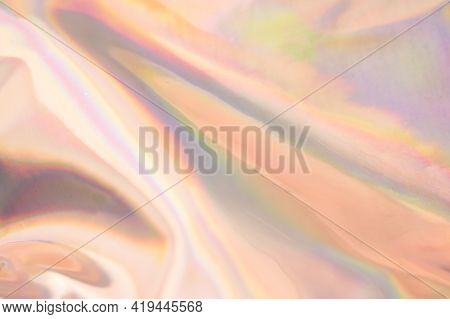 Blurry Abstract Iridescent Holographic Background For Your Design.multicolored Reflections On Bright