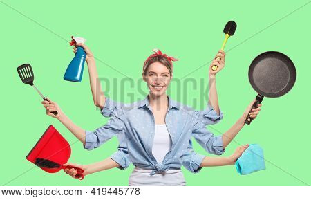 Multitask Housewife With Many Hands Holding Different Stuff On Green Background