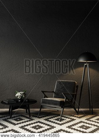 Black Room Interior With Armchair, Floor Lamp And Decor. 3d Render Illustration Mock Up.