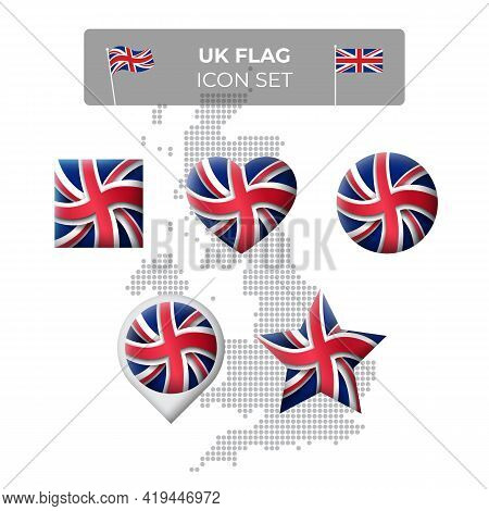 United Kingdom, Great Britain Wavy Flag Icons Set - Square, Heart, Circle, Stars, Pointer, Map Marke