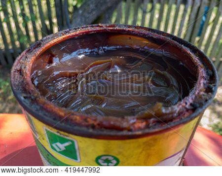 Bosnia And Herzegovina - July 22, 2020: Axle Grease Can For Machine Lubrication