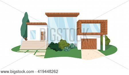 Modern Block House Architecture From Wood And Glass. Villa Building Exterior. Front View Of Private