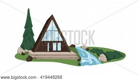 Modern Triangle House Design. Minimalistic Contemporary Architecture Of Secluded Country Building. A