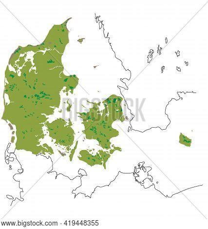 Map Of Denmark - Habitat Distribution - Flat Vector