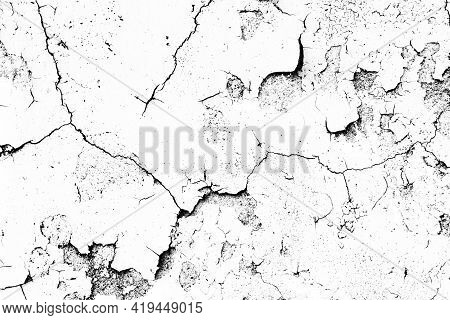 Peel Paint Crack. Dry Earth Cracked Overlay. White Paint Black Cracks Background. Scratched Lines Te