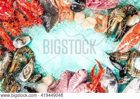 Set Of Various Fresh Raw Seafood