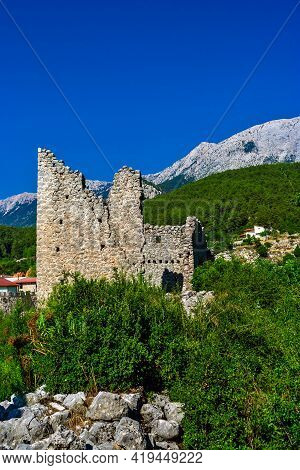 Ruins Of An Old Gedelme Castle In The Mountains Of Turkey