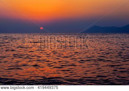 Beautiful Sunset Over The Sea On A Summer Evening
