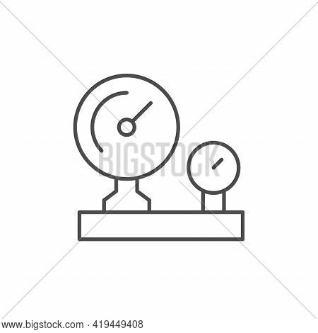 Industrial Manometer Line Outline Icon Isolated On White