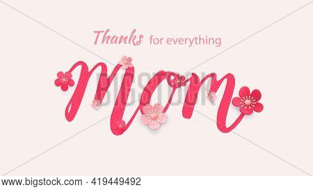 Mother S Day Greeting Card With Beautiful Blossom Flowers