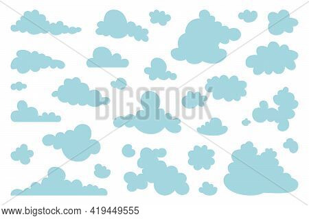 Set Of Blue Sky, Clouds. Cloud Icon, Cloud Shape. Set Of Different Clouds. Collection Of Cloud Icon,