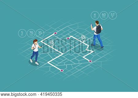 Isometric Gps Navigation Concept. Tourist Traveling Using His Smartphone With Previously Saved Favor