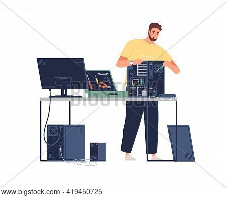 Sysadmin Repairing Computer. Technician Mending Pc Hardware. Repairman Working With System Unit And