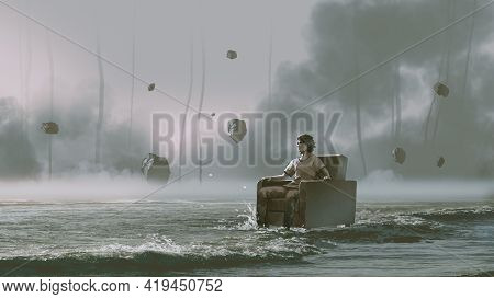 Man Sitting On Armchair In The Sea With Rocks Floating In The Sky, Digital Art Style, Illustration P
