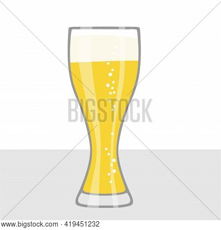 Beer Glass Isolated On Table. Glass Of Beer With Foam And Bubbles. Oktoberfest Background Concept Fo