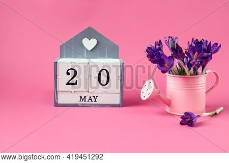 Calendar For May 20: A Cube With The Number 20, The Name Of The Month Of May In English,a Pink Water