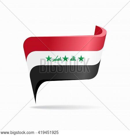 Iraqi Flag Map Pointer Layout. Vector Illustration.