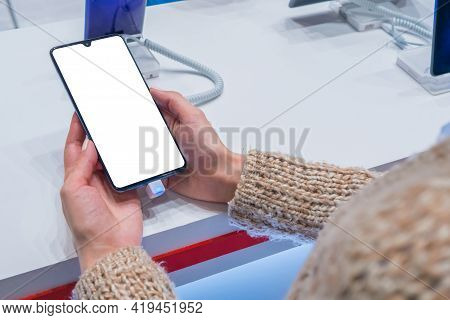 Mock Up, Copyspace, White Screen, Template, Technology Concept. Woman Customer Testing New Model Of