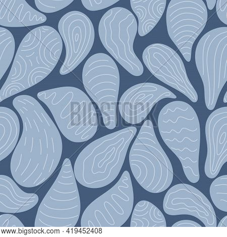 Abstract  Seamless Pattern With Blue Pear Shapes On Navy Background. Vector Hand Drawn Illustration.