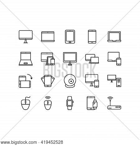 Gadgets And Electronic Devices Flat Line Icons Set. Computer, Tablet, Phone, Monitor, Laptop. Simple