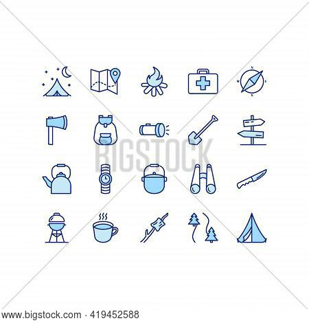 Camping, Travel And Picnic Flat Line Icons Set. Tent, Compasses, Mountain And Other Camping Equipmen
