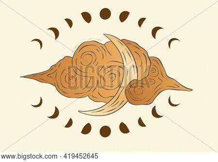 Celestial Moon Sacred Astrology Vector Card. Boho Moonlight Esoteric Art Star Magic Vector.