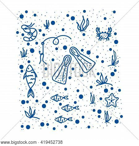 Marine Life Pattern. Hand-drawn Fins, With Marine Life. Doodle Background Of Marine, Oceanic, River