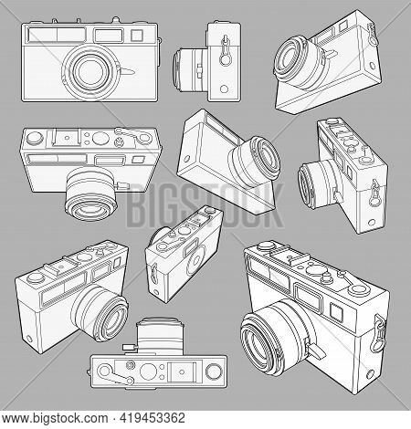 Vector Set With Neat Accurate Illustration Of Vintage Photo Camera.collection With 3D Views Retro Ol