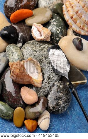 Natural Supplement. Marine Collagen Powder On A Background Of Stones. Healthy Lifestyle Concept. Hyd