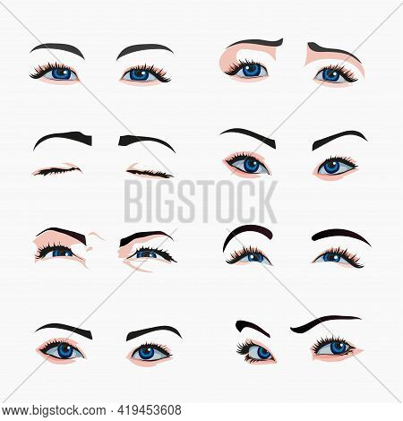 Various Types Of Woman Eyes. Collection Of Illustrations With Captions. Makeup Type Infographic. Dif