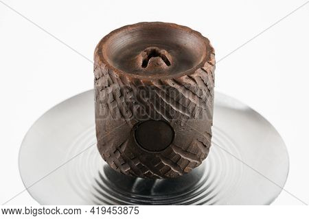 Unusual Brown Ceramic Hookah Bowl On A White Background.