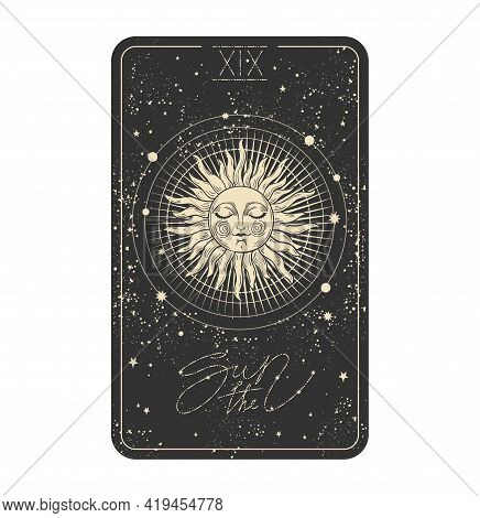 The Sun Tarot Card Icon, Sun With A Face On A Black Cosmic Background With Stars. Major Arcana For D