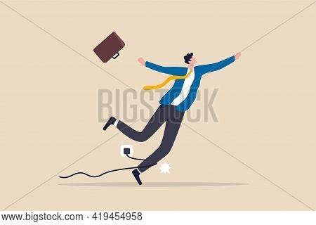 Failure Or Mistake, Accident Or Surprise Problem That Impact Business Concept, Clumsy Businessman St