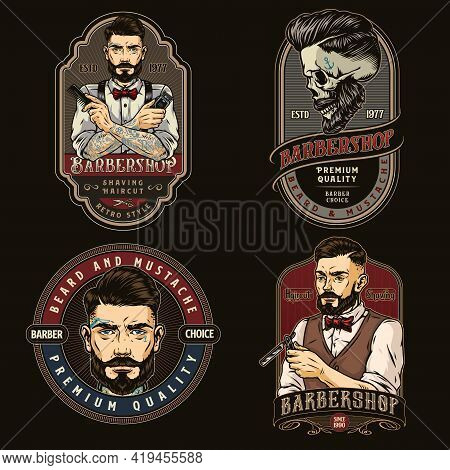 Colorful Vintage Barbershop Prints With Stylish Bearded And Mustached Barbers Holding Straight Razor