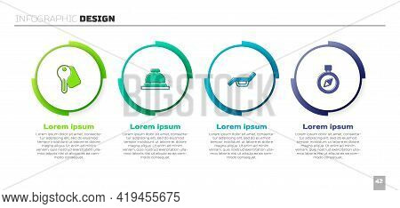 Set Hotel Door Lock Key, Service Bell, Sunbed And Umbrella And Compass. Business Infographic Templat
