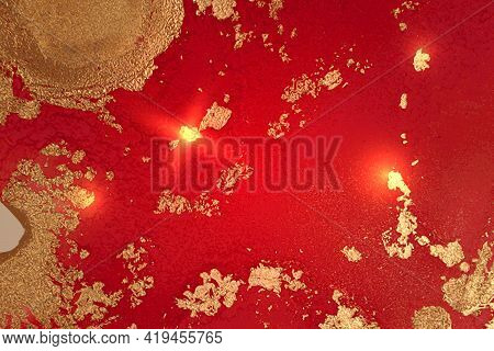Ruby Red And Gold Marble Texture With Sparkles. Abstract Vector Background
