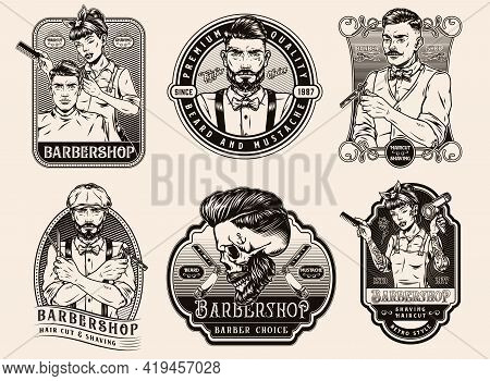 Barbershop Vintage Emblems In Monochrome Style With Stylish Elegant Barbers Straight Razors Hipster
