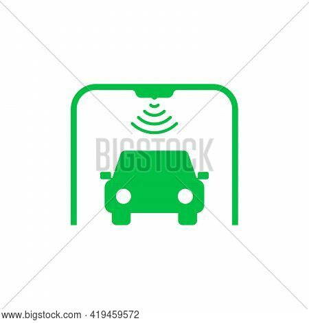 Toll Checkpoint Gate Like Freeway Icon. Flat Simple Trend Modern Green Check Point Logotype Graphic