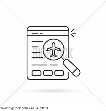 Black Thin Line Online Flight Booking Icon. Lineart Trend Modern Lowcost Logotype Graphic Stroke Art