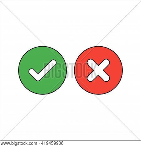 Check Mark Icon. Flat Check Marks. Isolated Vector Icon. Ok Button Correct Circle Icon. Yes And No I