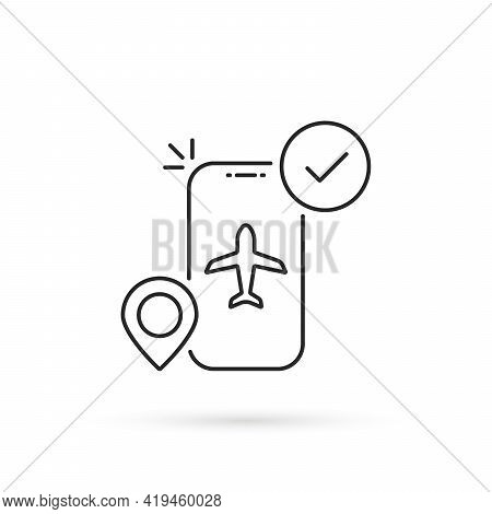 Thin Line Mobile Air Booking Icon. Flat Stroke Style Trend Modern Linear Logotype Graphic Art Design