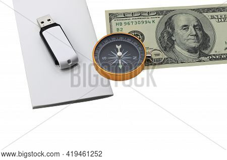 Classic Navigation Compass On American Dollars Flash Drive On White Paper Isolated On White Backgrou